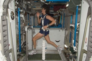 A photograph showing Expedition 32 flight engineer Sunita Williams running on a treadmill on board the International Space Station.