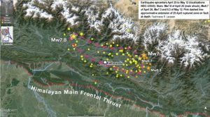 A map showing the extent of the Nepal Earthquake that took place on and around 12 May 2015.