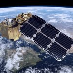 An artist's rendition of Sentinel-2 cruising above the Earth's atmosphere. Image: ESA